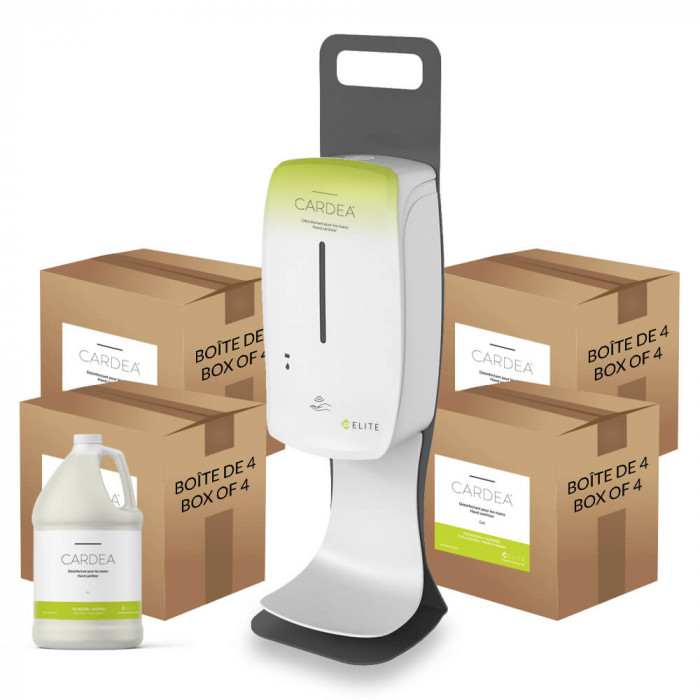 Countertop automatic hand sanitizer dispenser station (4 boxes of 4L of CARDEA)