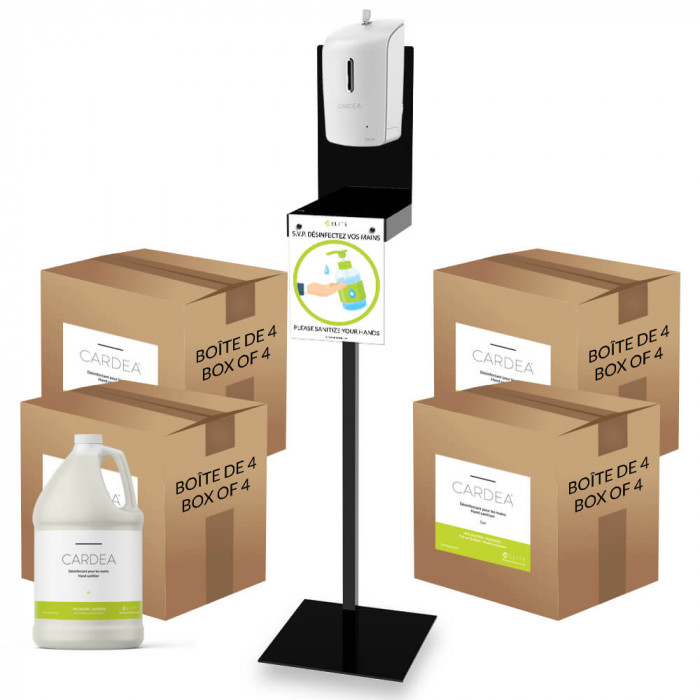 Automatic hand sanitizer dispenser station (4 boxes of 4L of CARDEA)