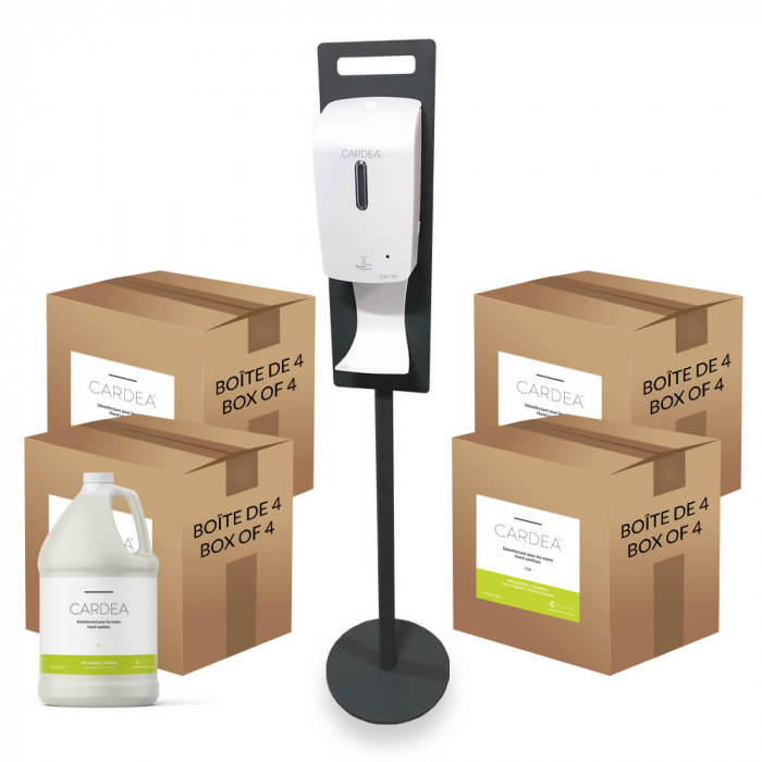 Floor automatic hand sanitizer dispenser station (4 boxes of 4L of CARDEA)