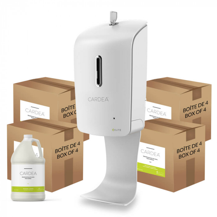 Wall-mounted automatic hand sanitizer dispenser station (4 boxes of 4L of CARDEA)