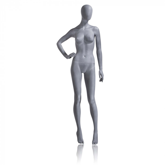 Female mannequin - oval head, right hand on hip, legs slightly bent