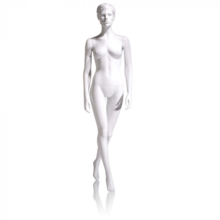 Female mannequin - molded hair, hands by side, left leg back