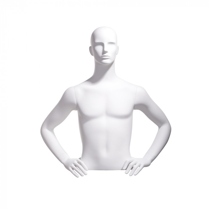 Male bust, abstract head, hands on hips