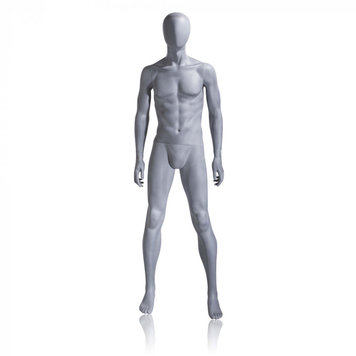 Male mannequin - oval head, arms at side, legs slightly bent
