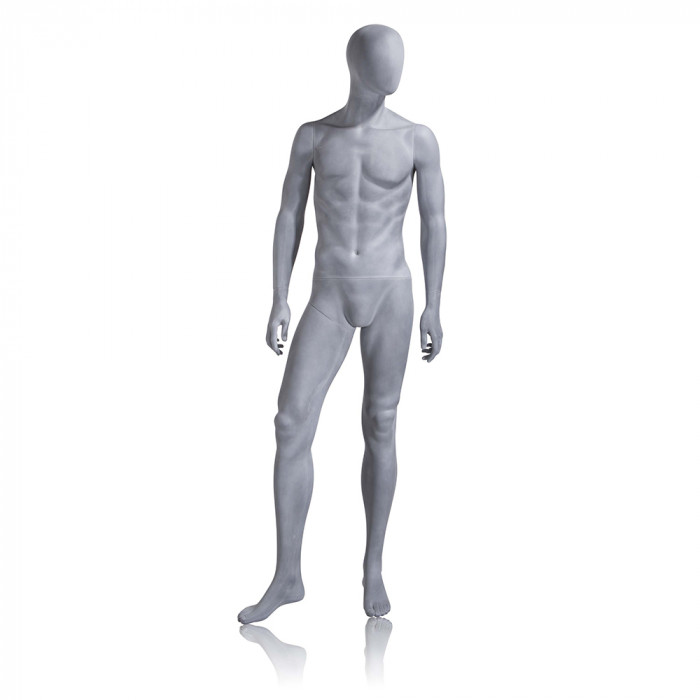 Male mannequin - oval head, arms at side, right leg slightly bent - slate grey