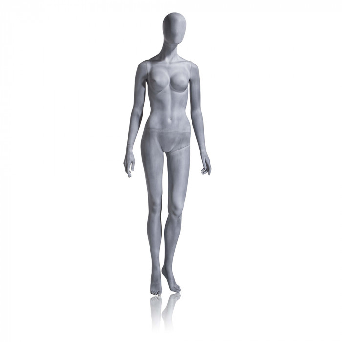 Female mannequin - oval head, arms at side, left leg slightly bent