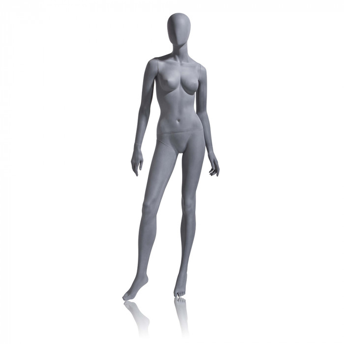Female mannequin - oval head, arms by side, turned at waist, right leg forward