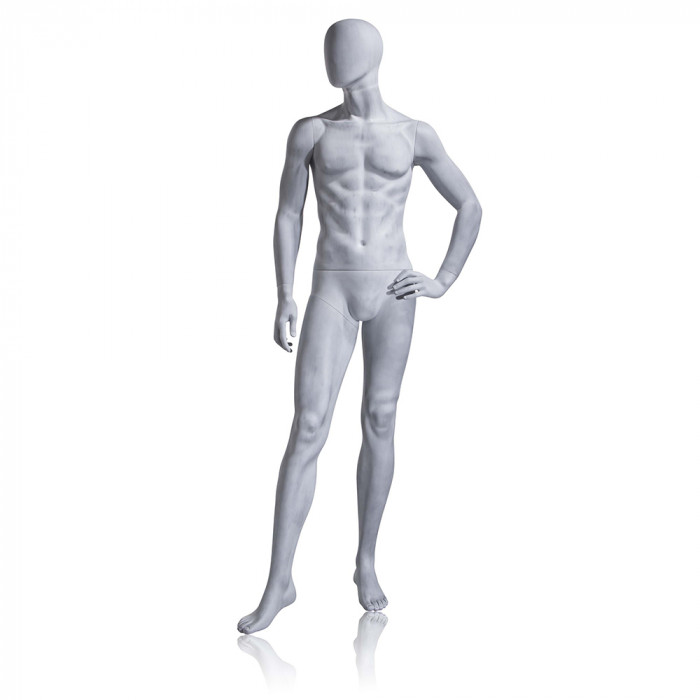 Male mannequin - oval head, left hand on hip, right leg forward