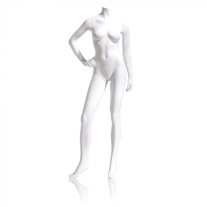 Female mannequin - headless, right hand on hip, right leg to side