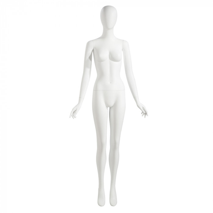 Female mannequin - oval head, arms by side