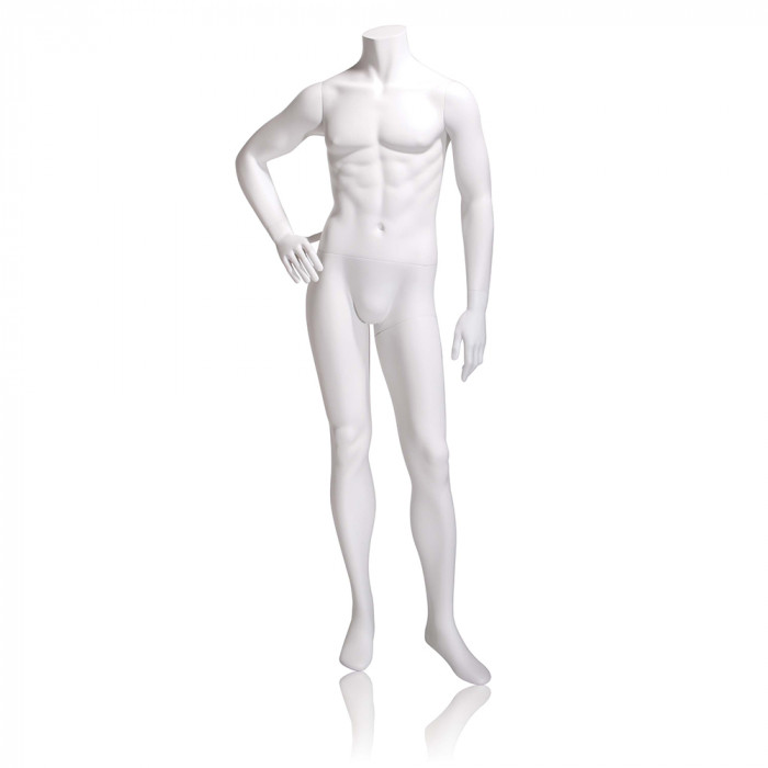 Male mannequin - headless, right hand on hip, left leg slightly forward