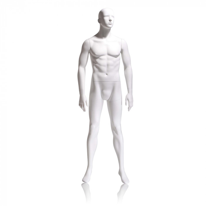 Male mannequin - abstract head, arms by side, legs slightly bent