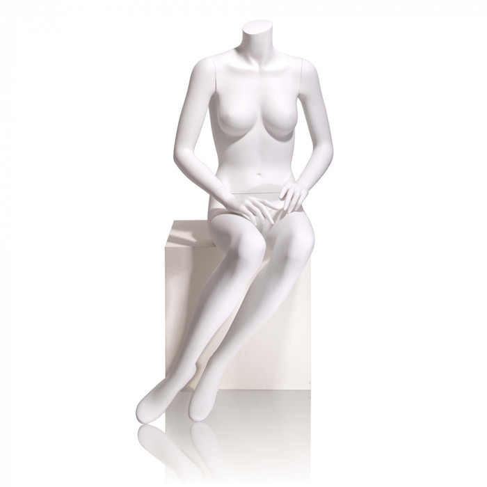 Female mannequin - headless, hands on lap, seated
