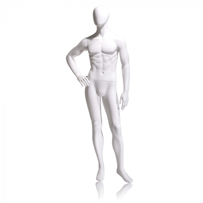 Male mannequin - oval head, right hand on hip, left leg slightly forward