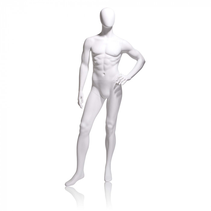 Male mannequin - oval head, left hand on hip, left leg slightly forward
