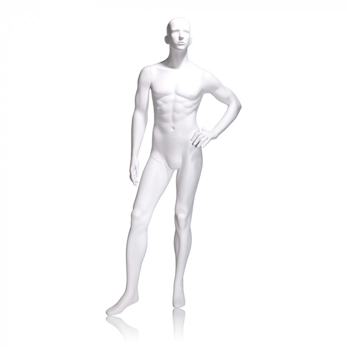 Male mannequin - abstract head, left hand on hip, left leg forward