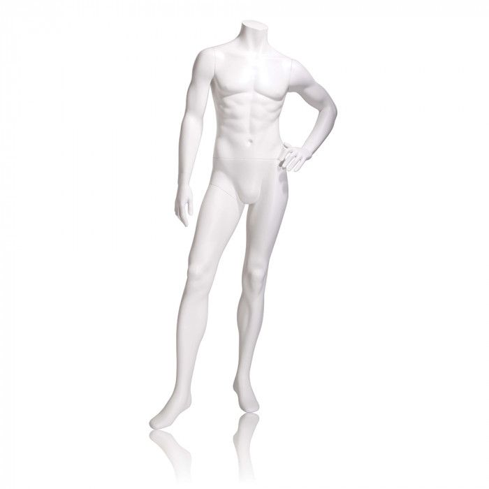 Male mannequin - headless, left hand on hip, left leg slightly forward