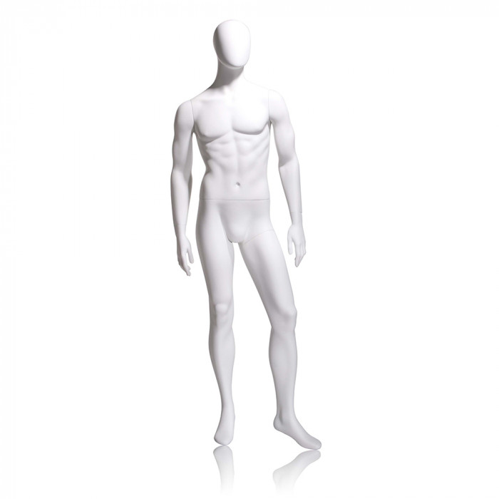 Male mannequin - oval head, arms by side, left leg slightly forward