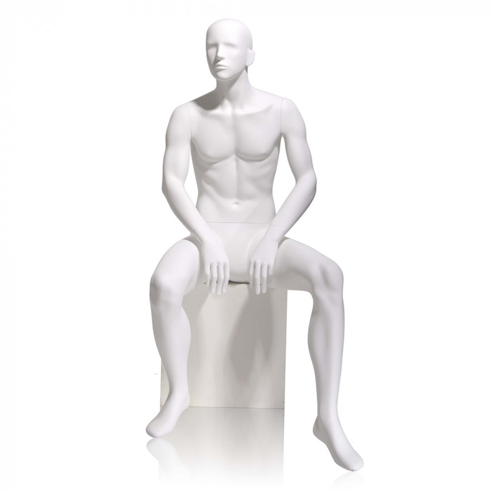Male mannequin - abstract head, seated