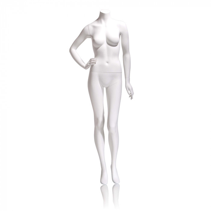 Female mannequin - headless, right hand on hip, left leg slightly bent