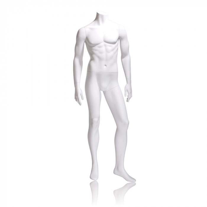 Male mannequin - headless, arms by side, left leg slightly forward