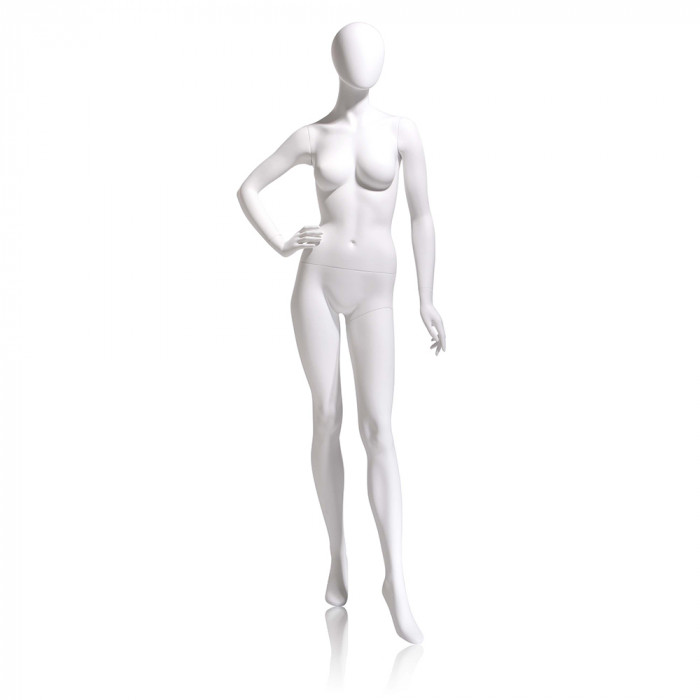 Female mannequin - oval head, right hand on hip, left leg forward