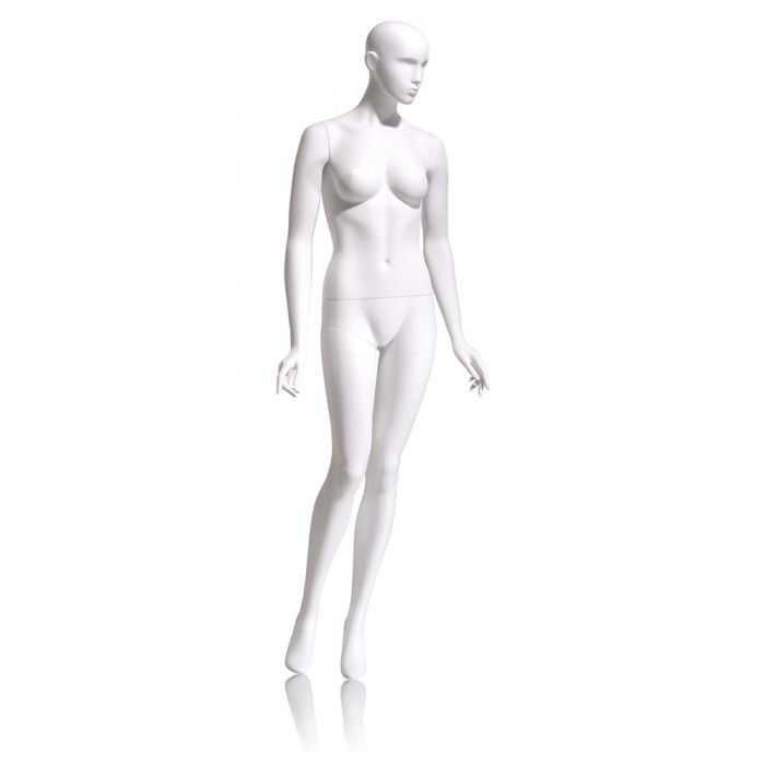 Female mannequin - abstract head, arms by side, right leg slightly bent