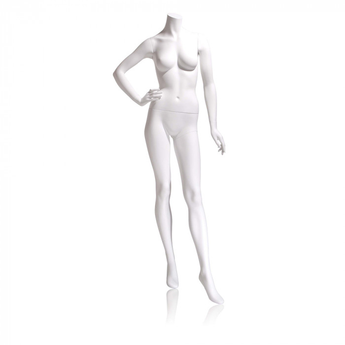 Female mannequin - headless, right hand on hip, left leg forward