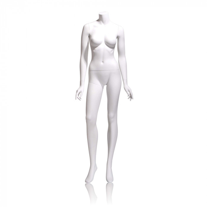 Female mannequin - headless, arms by side, right leg slightly forward
