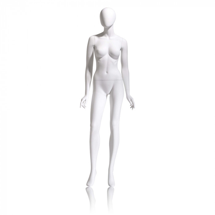 Female mannequin - oval head, arms by side, right leg slightly forward