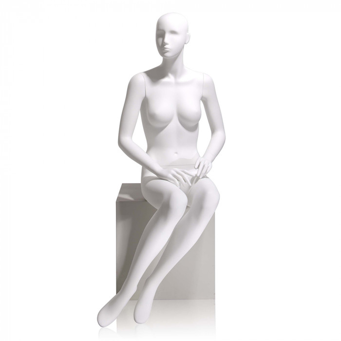 Female mannequin - abstract head, hands on lap, seated