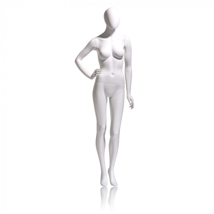 Female mannequin - oval head, right hand on hip, left leg slightly bent