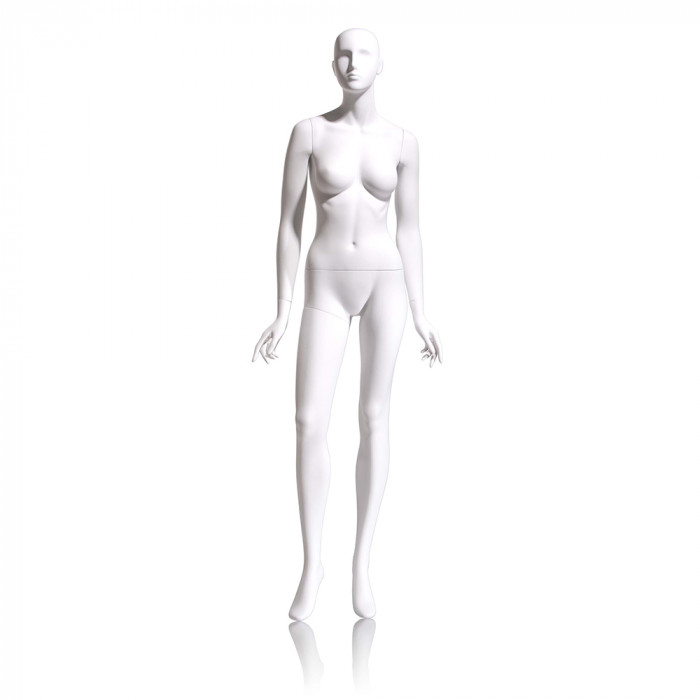 Female mannequin - abstract head, arms by side, right leg slightly forward
