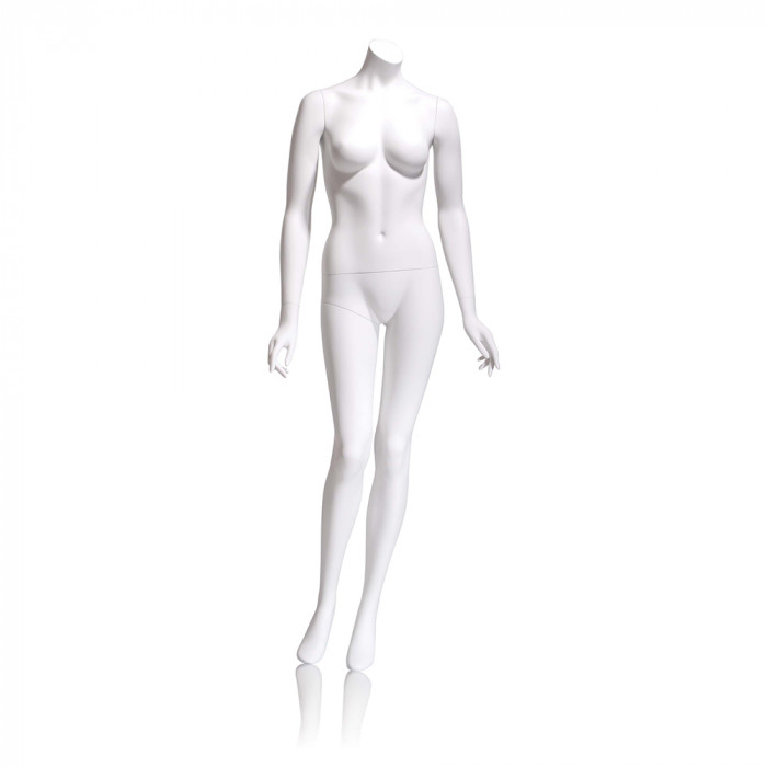 Female mannequin - headless, arms by side, right leg slightly bent