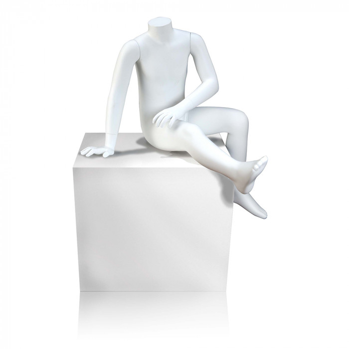 6-year old seated unisex children's mannequin - white