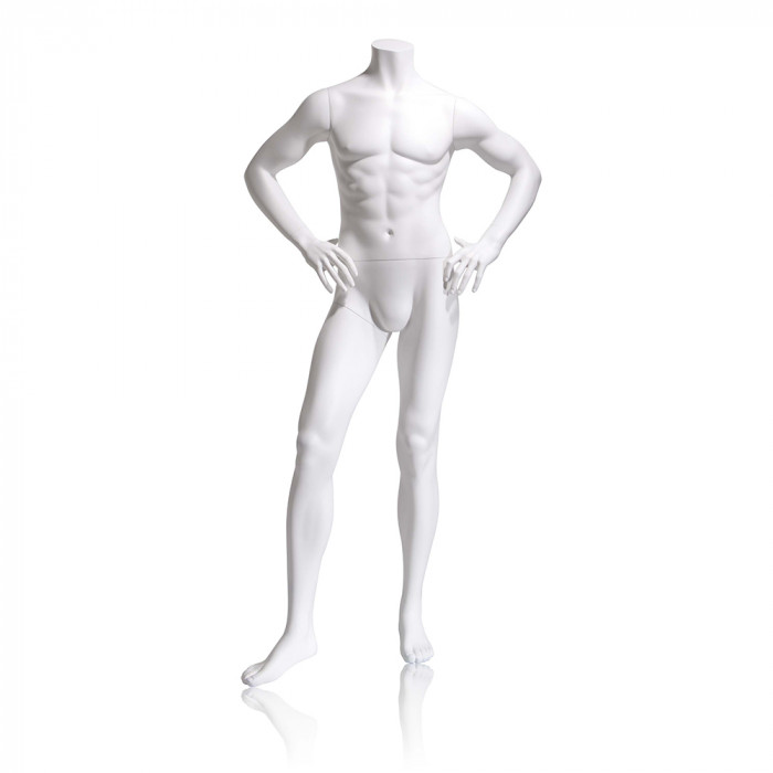Male mannequin - headless, hands on hips, right leg slightly forward