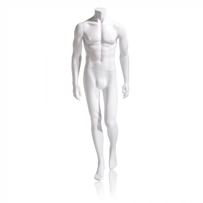 Male mannequin - headless, hands by side, left leg back