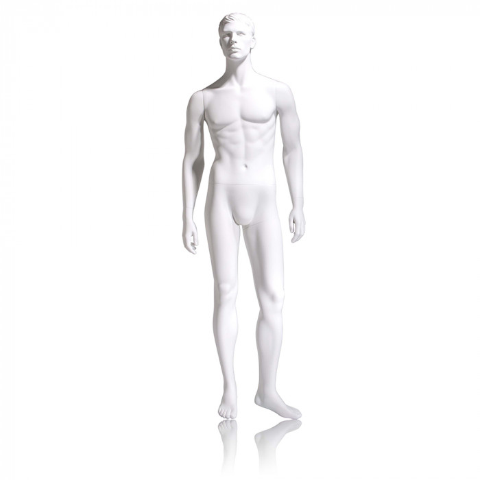 Male mannequin - molded head, arms by side, left leg slightly bent