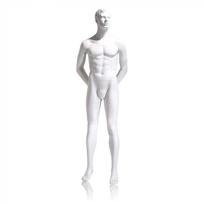 Male mannequin - molded head, hands behind back, legs straight