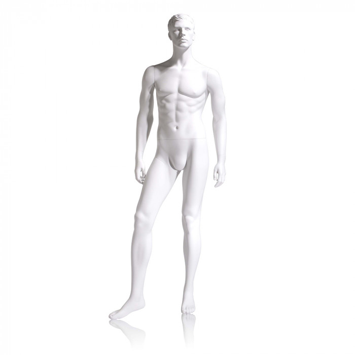Male mannequin - molded head, hands by side, right leg slightly forward