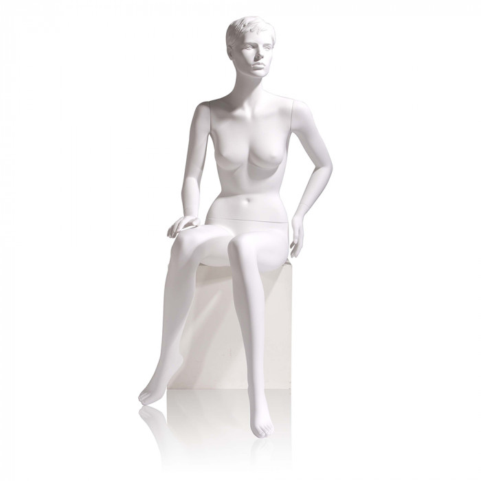 Female mannequin - molded hair, seated, right hand on knee, left on hip
