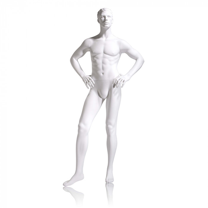Male mannequin - molded head, hands on hips, right leg slightly forward