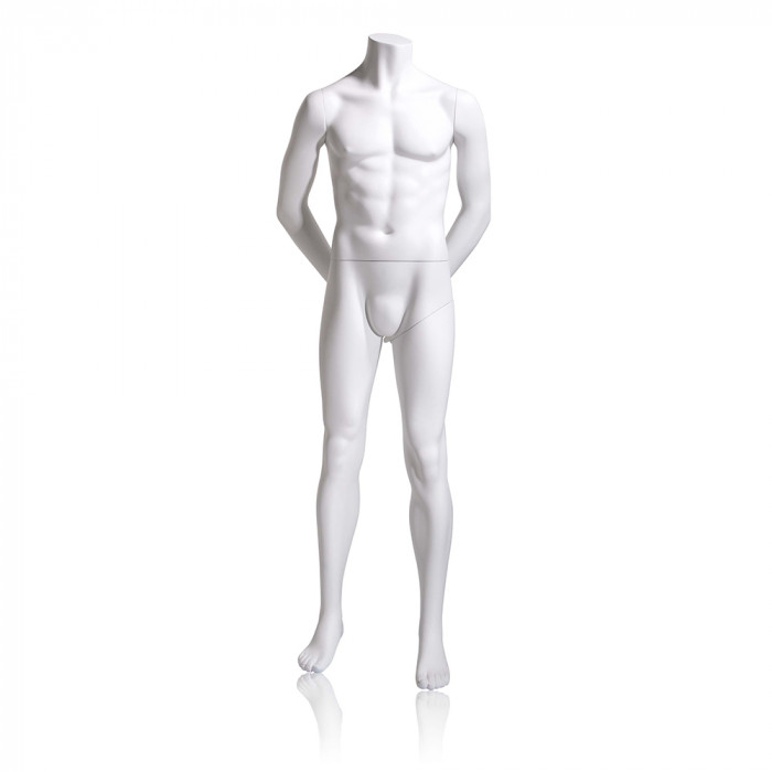 Male mannequin - headless, hands behind back, legs straight