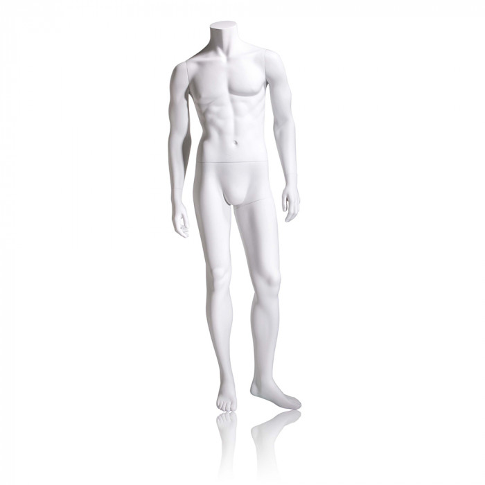 Male mannequin - headless, arms by side, left leg slightly bent