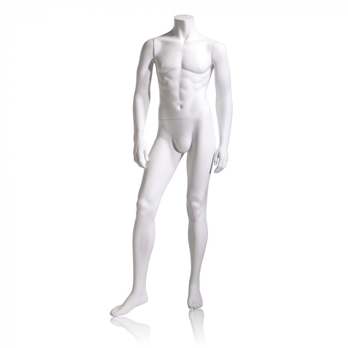 Male mannequin - headless, hands by side, right leg slightly forward