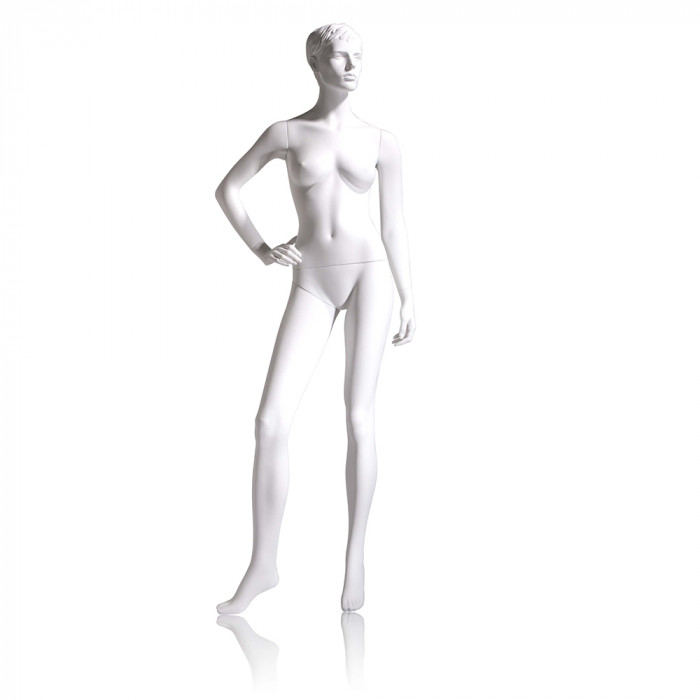female mannequin - molded hair, right hand on hip, right leg to side