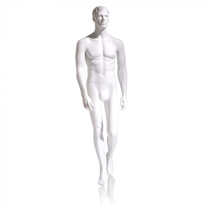 Male mannequin - molded head, hands by side, left leg back