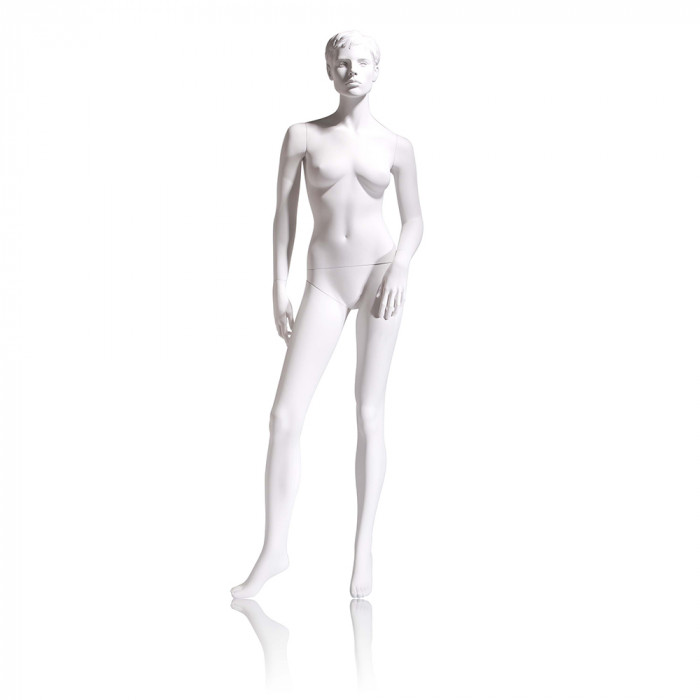Female mannequin - molded head, left arm slightly bent, right leg to side