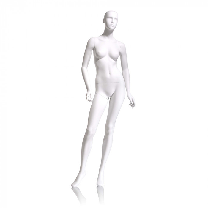 Female mannequin - abstract head, arms slightly bent, turned at waist, right leg forward