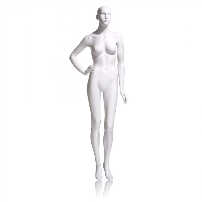 Female mannequin - abstract head, right hand on hip, left leg slightly bent